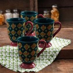 The Pioneer Woman Vintage Geo 18-Ounce Latte Mug Set, 4-Pack