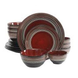 Gibson Elite Caf? Versailles 16 Piece Double Bowl Dinnerware Set - Red