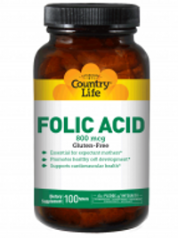 Country-Life,Folic Acid 800 mcg (100-Tablet)