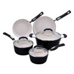 Hamilton Beach 8pc Aluminum Cookware Set, 3.0mm Forged, Black Porcelain Enamel,