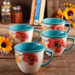The Pioneer Women Flea Market 16 oz Decorated Coffee Cup, Floral Turquoise, Set