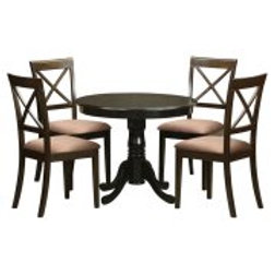 East West Furniture Antique 5 Piece Pedestal Round Dining Table Set with Boston