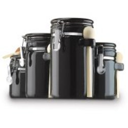 Anchor Hocking 4-Piece Ceramic Canister Set, Black