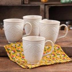 The Pioneer Woman Farmhouse Lace Mug Set, 4-Pack