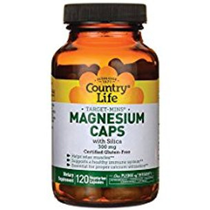Country-Life,Magnesium with Silica 300 mg (120-Vegicaps)