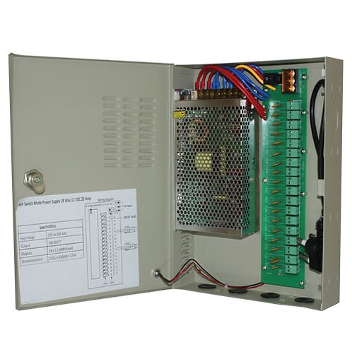 Power Supply CCTV 18 Way 12VDC 20 Amp