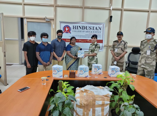 Hindusthan College Chennai BSW department donates N95 MASKS TO CISF