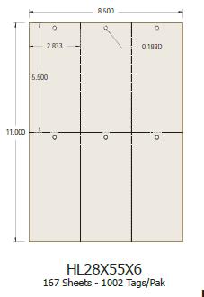 Laser Tags 2.83x5.5 (6 per sheet) - 1000 Tags per Pack