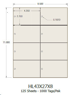 Laser Tags 4.3x2.7 (8 per sheet) - 1000 Tags per Pack