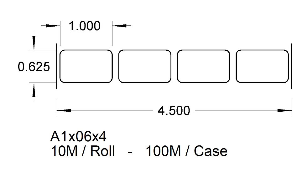 A1X06X4-WH  (4 up) ADHESIVE LABELS  (100,000)