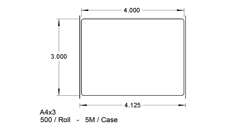 "4"" X 3"" ADHESIVES  Case Qty 5,000"