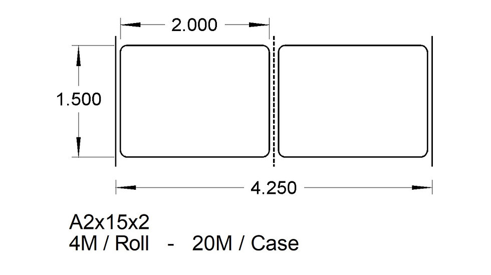 """2"""" X 1-1/2"""" (2up) ADHESIVES  Case Qty 20,000"""