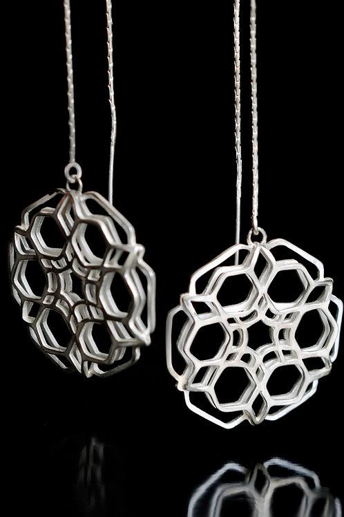 Double layered hexagon dangling earrings