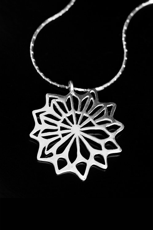 Single flat lotus pendant necklace