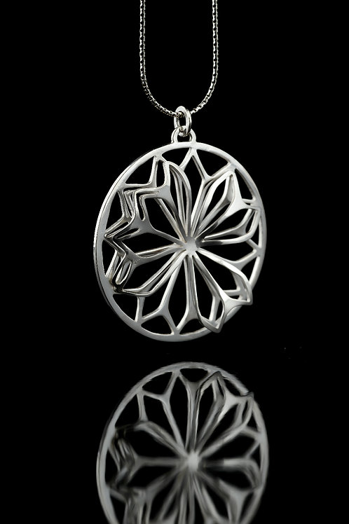 Double layered petal pendant necklace