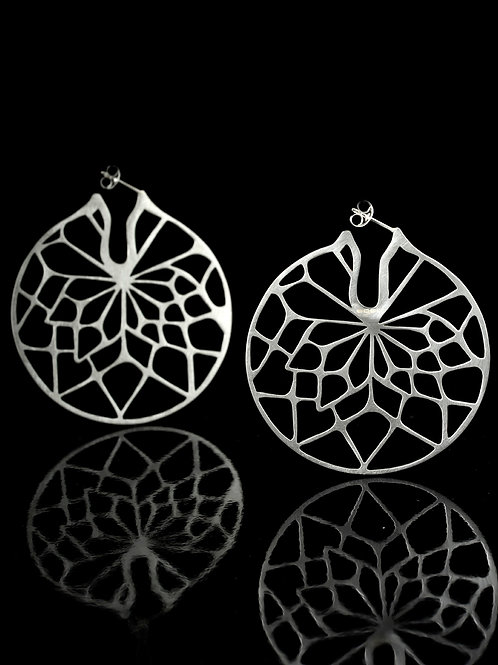 Large flat round earrings
