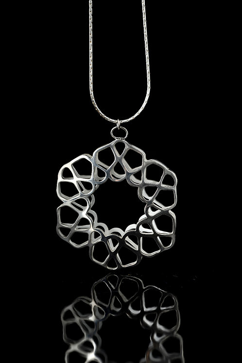 Double layered hexagon pendant necklace