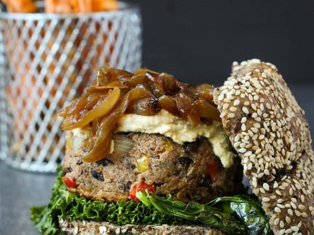 Vegan BBQ Black Bean Burgers with Caramelised Onions