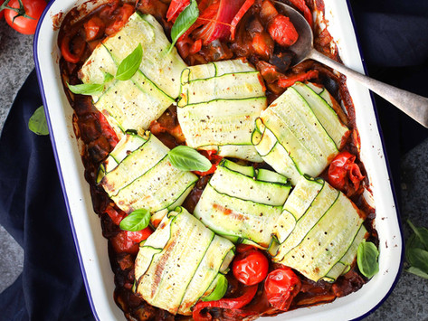 Vegan Smoky Eggplant Shakshuka with Almond Ricotta Parcels