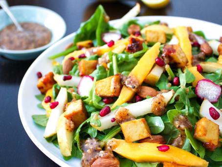 Mango, Tofu & Pear Salad with Almond dressing