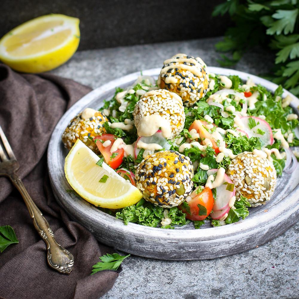 Carrot & Chickpea Falafel Salad
