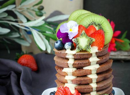 Choc Pancakes with White Chocolate Protein Sauce