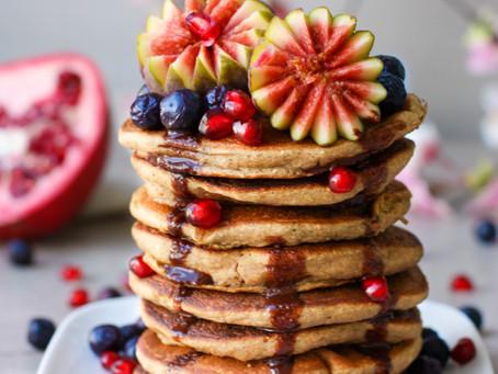 Vegan Maca Pancakes with Choc Sauce