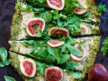 Zucchini Base Pizza with Vegan Almond Cheese