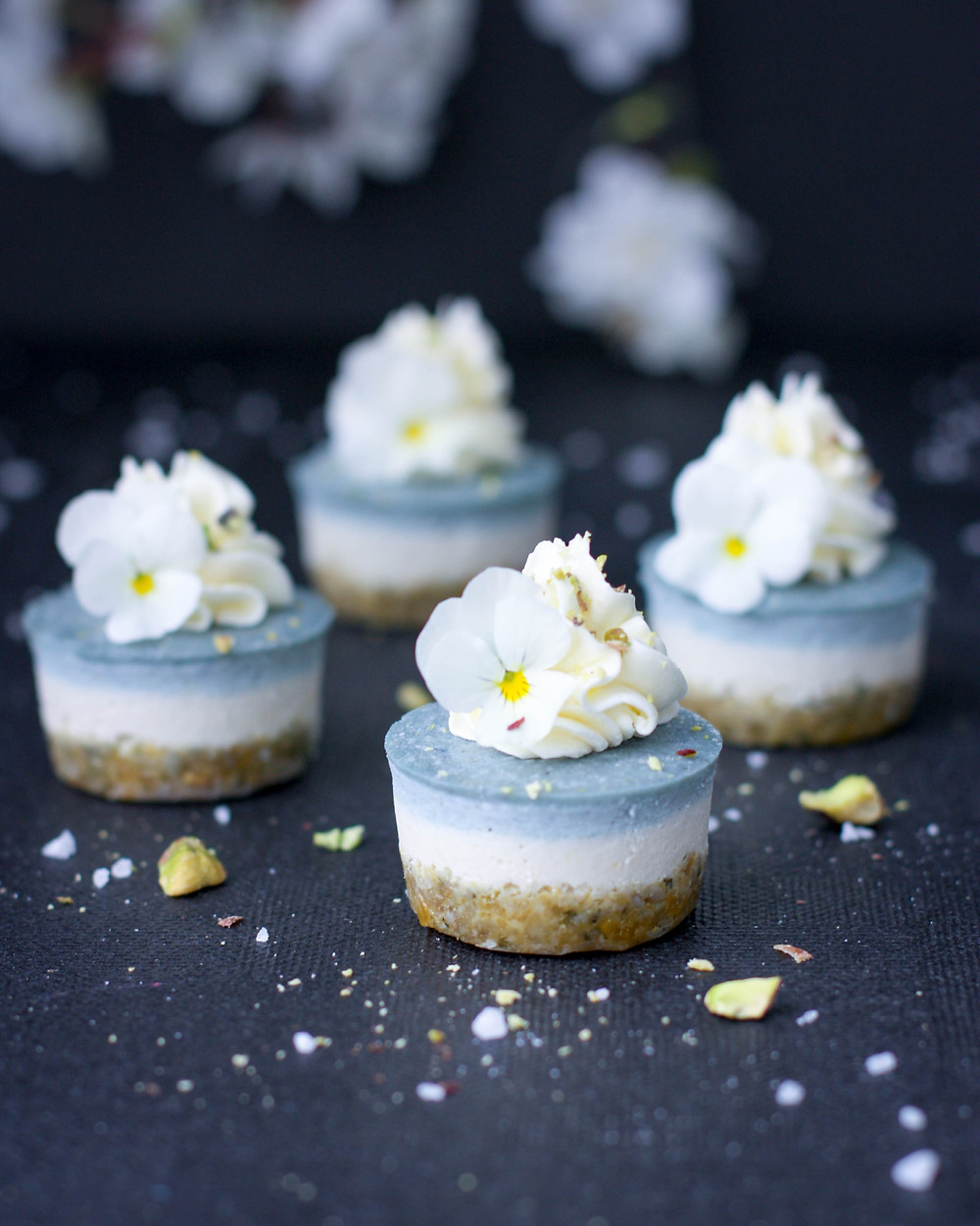 Vegan Ice Blue Lemon Cheesecake Bites
