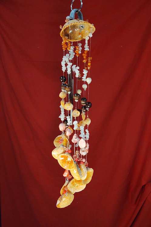 #135  Orange Clam with 10 smaller clams  3x21  14.8oz
