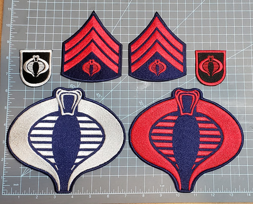 "Cobra trooper and officer uniform patches.  The largest sigil I can do is 6""H."
