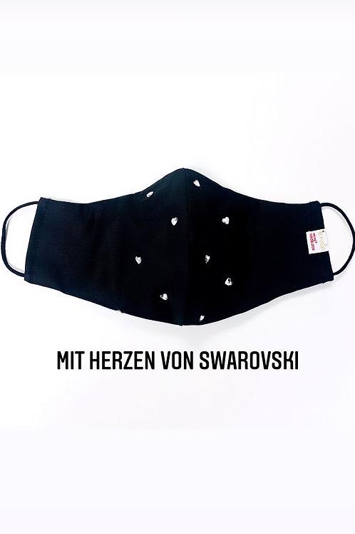 Viroblock Schutzmaske Herzen Swarovski uni (INNEN -UND AUSSEN)