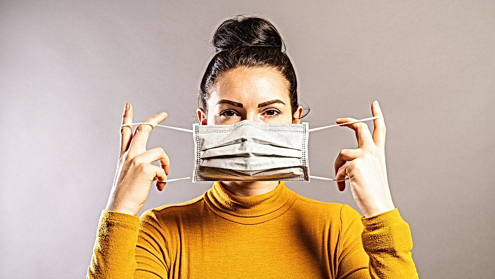 Woman wearing an anti virus protection m