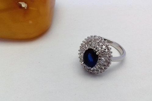 Zirkon tasarım mavi taş bayan yüzük