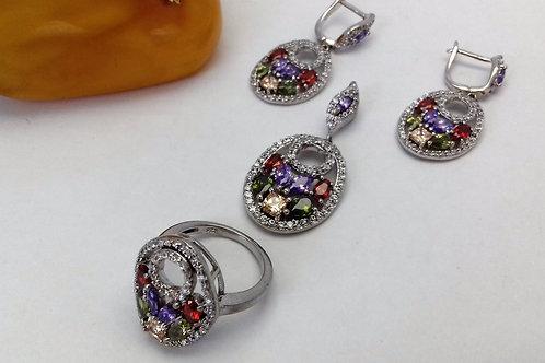 Rodyumlu zirkon, ametis, lal taşlı 925 ayar gümüş üçlü set
