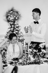 Bride laughing during the grooms speech