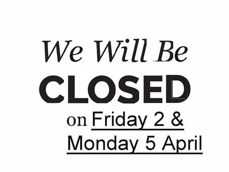 VICCIR Easter Closure