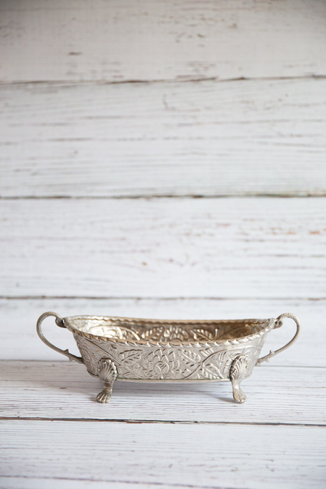 Oval silver embossed bowl