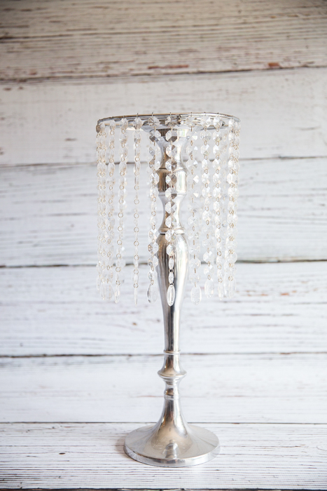 Crystal shade on silver stand