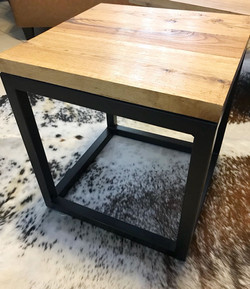 Wooden top cube side table