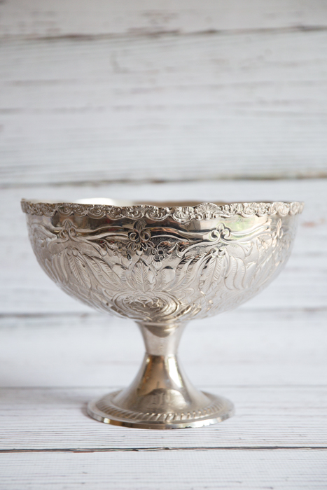 Silver embossed bowl