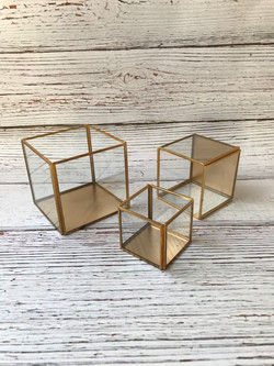Gold rim glass boxes