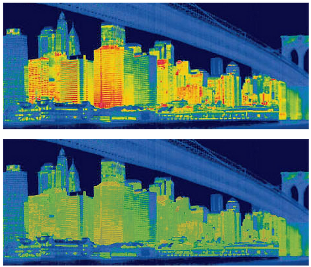 Infrared image showing the amount of heat loss from New York City buildings (Photo by Tyrone Turner - National Geographic).