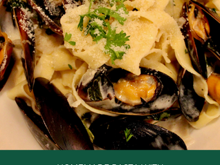 Homemade pasta with Mussels in a White Wine Sauce 1.12 Double Date