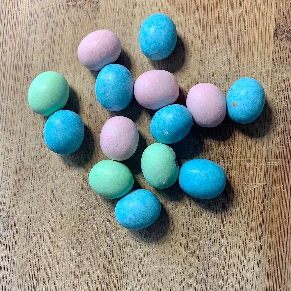 Candy-coated chocolate egg candy
