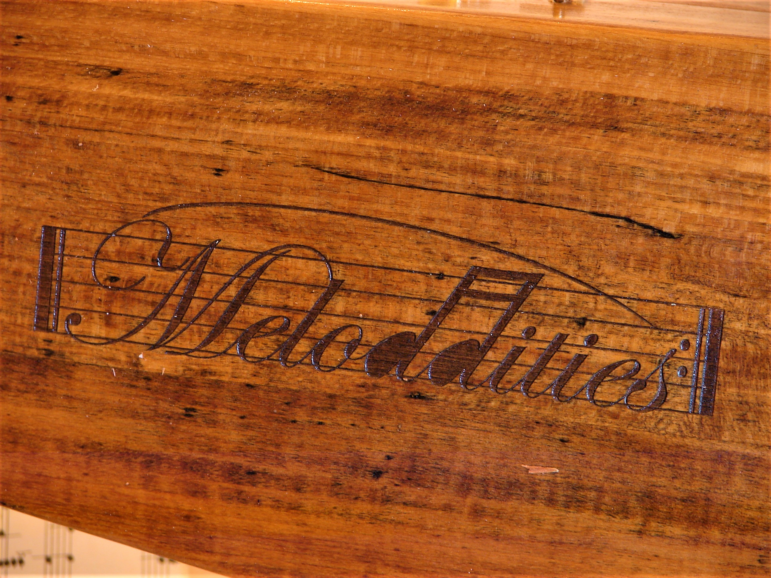Laser-Engraved Meloddities Logo