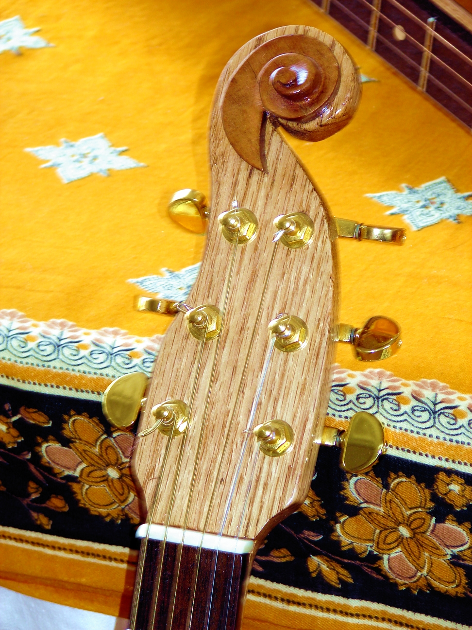 Oak neck/headstock w/ violin scroll