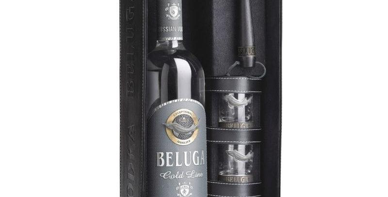 Beluga Vodka Gold Line Leder Set