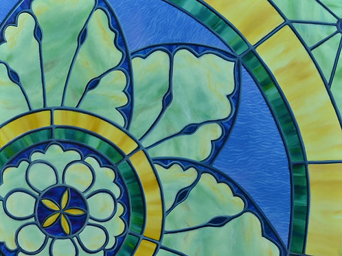 Oil painting of a flower design from Tulsa Garden Center by JS Aitken in style of stained glass