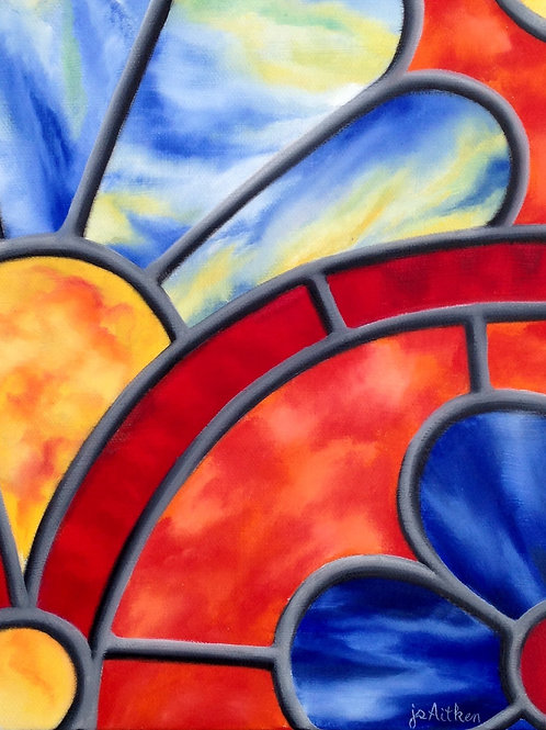 Tangerine Joy, by JS Aitken, shows bold contrasted colors and an upbeat design in her stained glass style.